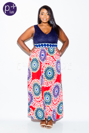 Plus Size Laced V-Neck & Bohemian Circle Maxi Dress