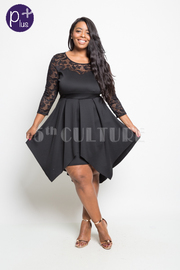 Plus Size Classy Laced & Solid Asymmetric Flowy Dress