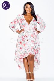Plus Size Blooming Flowers Chiffon Maxi Wrap Dress