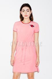 Small Flower Patch Striped Varsity Dress