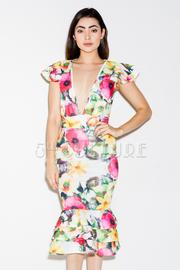 Deep V Multi Colored Floral Mermaid Tube Dress