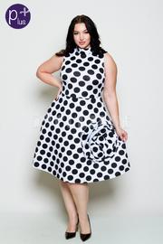 Plus Size Big Flower Exposed Polka Dot Skater Dress