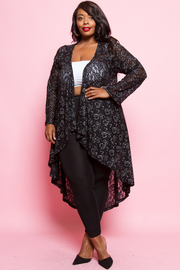 Plus Size Lacey Open Solid Cardigan