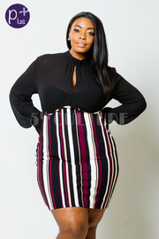 Plus Size 2-Fer Solid Sheer & Striped Bodycon Dress