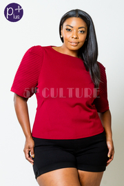 Plus Size Exposed Short Sleeved Solid Top