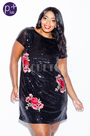Plus Size Sexy In Sequin Glam Rose Patch Tunic Dress