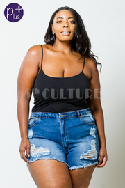 Plus Size Distressed Mini Denim Shorts