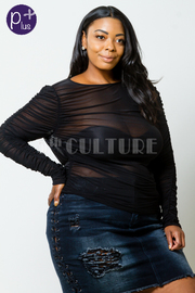 Plus Size Sexy In All Mesh Ruched Long Sleeved Top