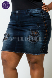 Plus Size Distressed Sexy In Denim Mini Skirt