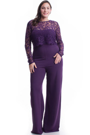Plus Size Exposed Gothic 2-Piece Detailed Woven Jumpsuit