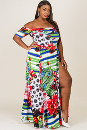 Plus Size Off Shoulder Tropical Printed Maxi Slits Dress