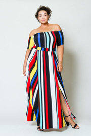Plus Size Off Shoulder Multi-Colored Striped Maxi Slits Dress