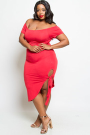 Plus Size Sexy Off Shoulder Tie Side Tube Dress