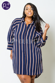 Plus Size Sexy In This Striped Button Down Shirt Dress