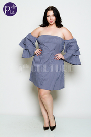 Plus Size Off Shoulder Ruffled Layered Mini Dress