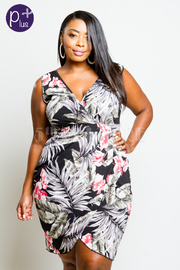 Plus Size Sexy In Feather Printed Tube Dress