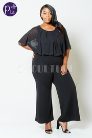 Plus Size Flounced Sheer Casual Jumpsuit