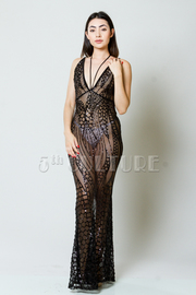 Looking Classy Sequin Design Mesh Maxi Halter Gown