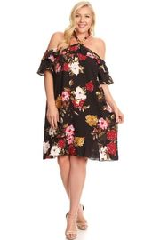 Plus Size Roses Open Shoulder Mermaid Tunic Dress