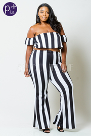 Plus Size Striped Off Shoulder Cropped Pants Set