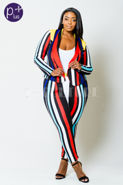 Plus Size Multi-Colored Blazer Pants Set