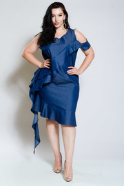 Plus Size Cold Shoulder Sexy In Denim Ruffled Flounce Tunic Dress