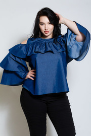 Plus Size Classy Denim Ruffled Cold Shoulder Top