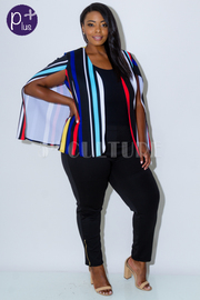 Plus Size Multi Striped Cape Pro Blazer