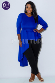 Plus Size Casual Night 3/4 Sleeved Cascade Hi Lo Top