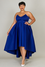Plus Size Sweetheart Strapless Flowy Maxi Ponti Dress
