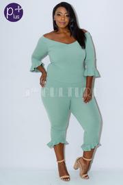 Plus Size Flirty 2-Piece Bell Sleeved Pants Set