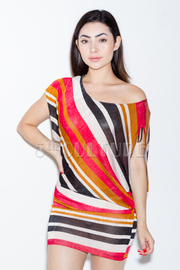 Striped One Shoulder Draped Mini