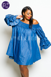 Plus Size Off Shoulder Casual In Denim Smocked Ruffled Sleeved Dress