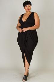 Plus Size Stylish Tulip Jersey V-neck Dress