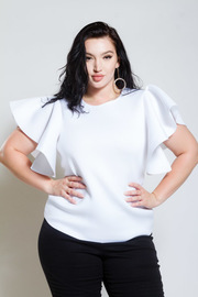 Plus Size Flirty Cascade Sleeved Ponti Casual Top