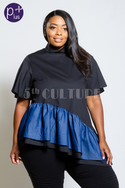 Plus Size Asymmetrical Denim Solid Combo Top