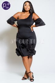 Plus Size Very Unique Ruffled One Shoulder Flounced Sided Dress