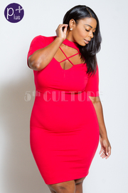 Plus Size Cross Straps Sexy Bodycon Dress