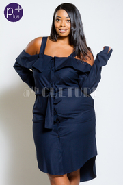 Plus Size Cold Shoulder Classic Denim Button Down Jacket Dress