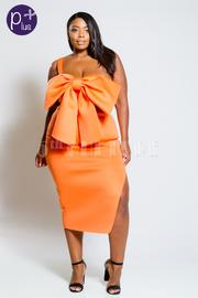 Plus Size One Shoulder Big Bow Detailed 2-Piece Scuba Slit Midi Skirt Set