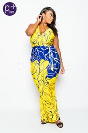 Plus Size Surplice Big Floral Unique Maxi Dress
