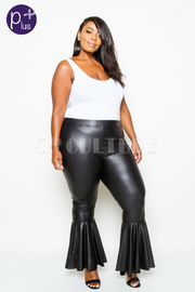 Plus Size Faux Leather Ruffled Pants
