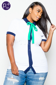 Plus Size Basic But Cute Colorblock Tie Button Down Top