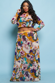 Plus Size Spring Floral Cropped Maxi Skirt Set