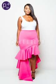 Plus Size Asymmetrical Cascade Side Maxi Skirt
