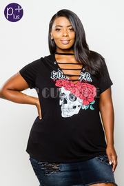 Plus Size Skull & Roses Sliced Graphic Tee
