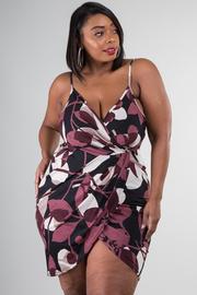 Plus Size Surplice Floral Mini Tube Dress
