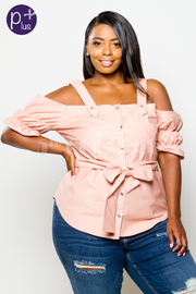 Plus Size Open Shoulder Bubble Button Down Top