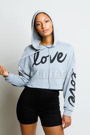 Casual Love Hooded Crop Sweatshirt