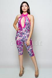 Trendy Sequin Keyhole Design Capri Halter Jumpsuit